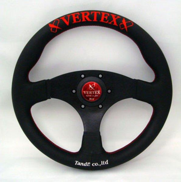 画像1: VERTEX STEERING FLATタイプ325φ/レッド(ヴェルテックスステアリング ブラックレザーフラットタイプ)  (1)