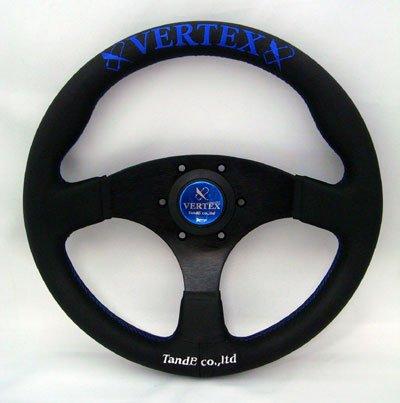 画像1: VERTEX STEERING FLATタイプ325φ/レッド(ヴェルテックスステアリング ブラックレザーフラットタイプ)